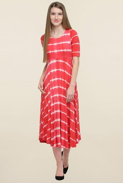 Magnetic Designs Red Tie Dye Dress