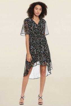 Femella Black Printed Wrap Dress