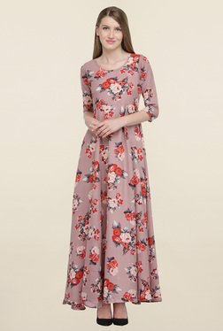 Magnetic Designs Mauve Floral Print Dress