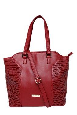 Addons Dark Red Laser Cut Shoulder Bag