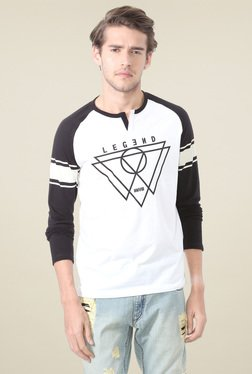 People White Raglan Sleeves Printed T-Shirt