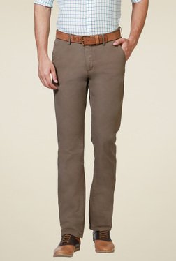 Allen Solly Brown Cotton Mid Rise Mid Rise Trousers