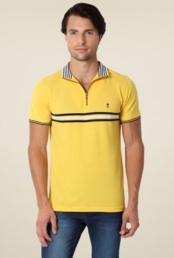 Peter England Yellow Slim Fit Half Sleeves Polo T-Shirt