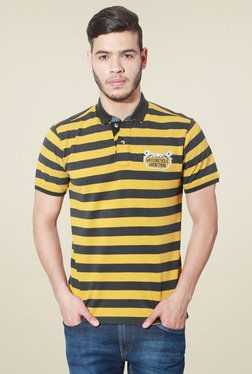 People Yellow & Black Striped Cotton Polo T-Shirt