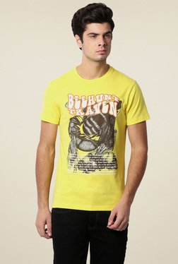 Peter England Yellow Crew Neck Slim Fit T-Shirt