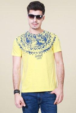 People Yellow Printed Regular Fit T-Shirt