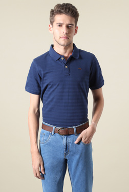 People Navy Half Sleeves Striped Polo T-Shirt