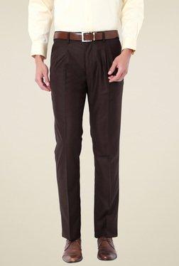Van Heusen Dark Brown Mid Rise Slim Fit Trousers
