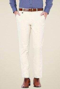 Van Heusen Beige Mid Rise Slim Fit Flat Front Trousers