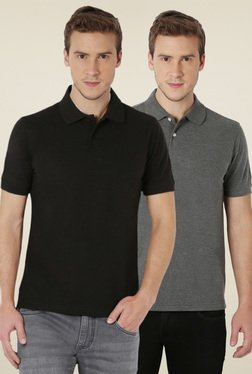 Peter England Black & Grey Cotton Polo T-Shirt (Pack of 2)