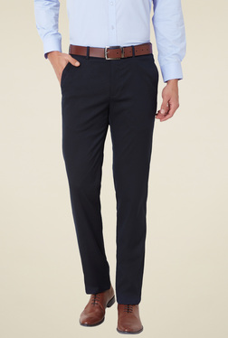Van Heusen Navy Flat Front Slim Fit Mid Rise Trousers