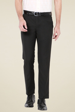 Van Heusen Black Mid Rise Slim Fit Flat Front Trousers
