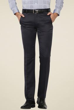 Van Heusen Navy Flat Front Slim Fit Solid Trousers