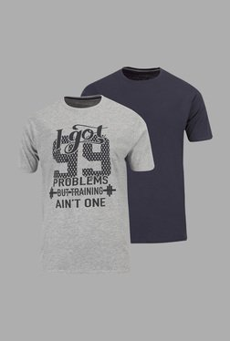 Doone By Sportzone Grey & Navy Training T Shirt (Pack Of 2)