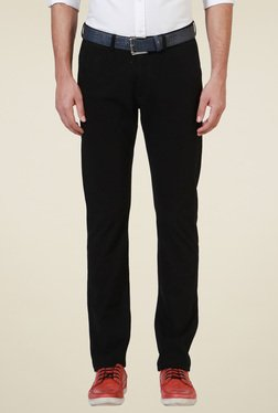 Allen Solly Black Flat Front Trousers