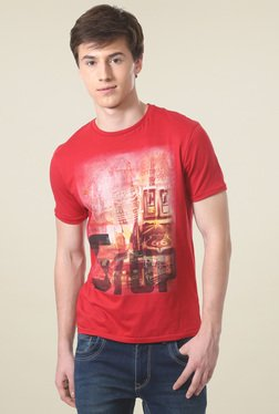 People Red Printed Crew Neck T-Shirt
