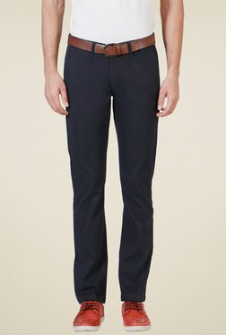 Allen Solly Navy Comfort Fit Flat Front Trousers
