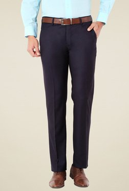 Van Heusen Navy Flat Front Solid Slim Fit Trousers