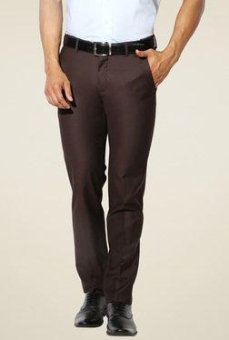 Van Heusen Dark Brown Ultra Slim Fit Mid Rise Trousers