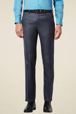 Van Heusen Navy Slim Fit Solid Mid Rise Trousers