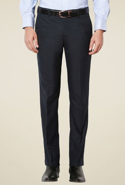 Van Heusen Navy Solid Slim Fit Mid Rise Trousers