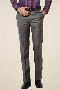 Van Heusen Dark Grey Slim Fit Flat Front Trousers