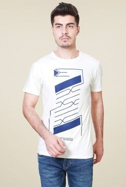 Peter England White Crew Neck Slim Fit T-Shirt