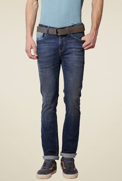 Van Heusen Dark Blue Ultra Slim Fit Lightly Washed Jeans