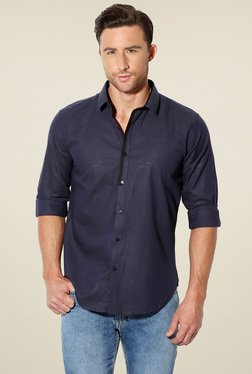 Van Heusen Navy Slim Fit Full Sleeves Shirt