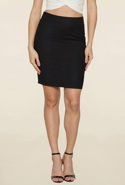 Globus Black Solid Pencil Skirt