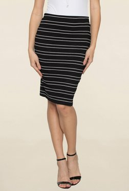 Globus Black Striped Pencil Skirt