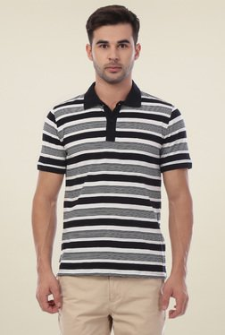 Van Heusen Black Half Sleeves Striped Polo T-Shirt