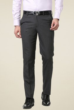 Peter England Grey Slim Fit Flat Front Solid Trousers