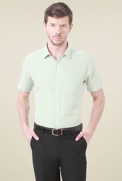 Peter England Yellow Half Sleeves Checks Shirt