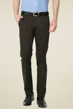 Van Heusen Olive Ultra Slim Fit Mid Rise Trousers