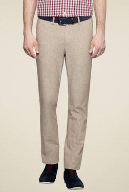 Allen Solly Beige Comfort Fit Flat Front Trousers