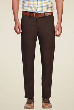 Allen Solly Brown Slim Fit Flat Front Trousers