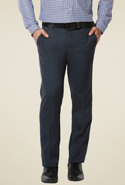 Van Heusen Dark Blue Solid Slim Fit Trousers