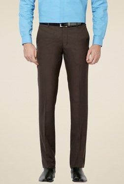 Van Heusen Dark Brown Slim Fit Flat Front Trousers