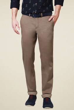 Allen Solly Coffee Comfort Fit Flat Front Trousers