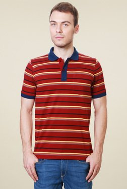 Van Heusen Red Half Sleeves Striped Polo T-Shirt