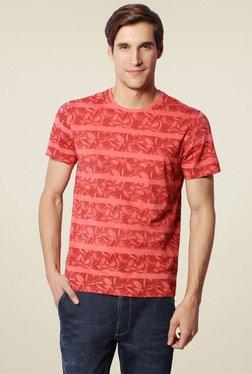 Van Heusen Red Printed Crew Neck T-Shirt