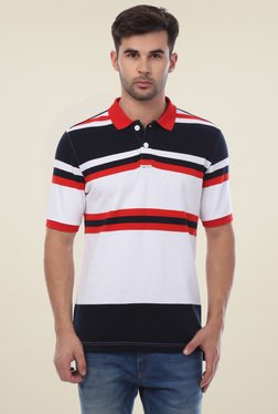 Van Heusen White Half Sleeves Striped T-Shirt