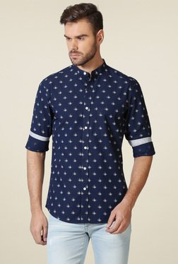Allen Solly Navy Band Collar Printed Shirt
