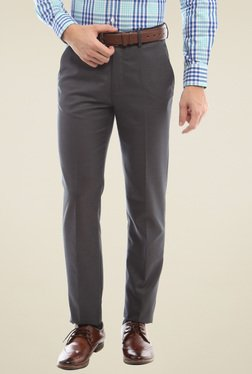 Peter England Grey Mid Rise Flat Front Trousers