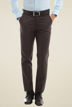 Peter England Brown Mid Rise Slim Fit Flat Front Trousers