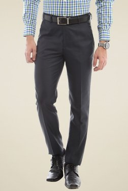 Peter England Grey Slim Fit Flat Front Trousers