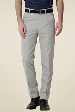 Peter England Light Grey Slim Fit Trousers