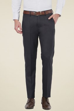 Peter England Dark Grey Slim Fit Flat Front Trousers