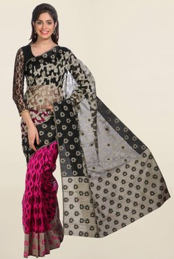 Jashn Pink & Black Printed Saree